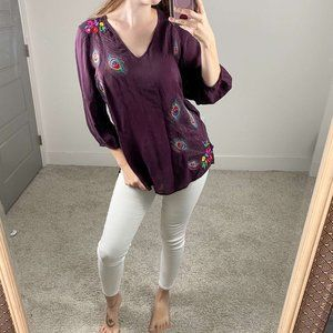 Johnny Was Peacock Embroidery Purple Blouse Top